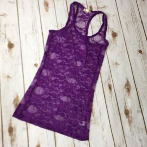 Purple Lace Racerback Tank Top Floral print